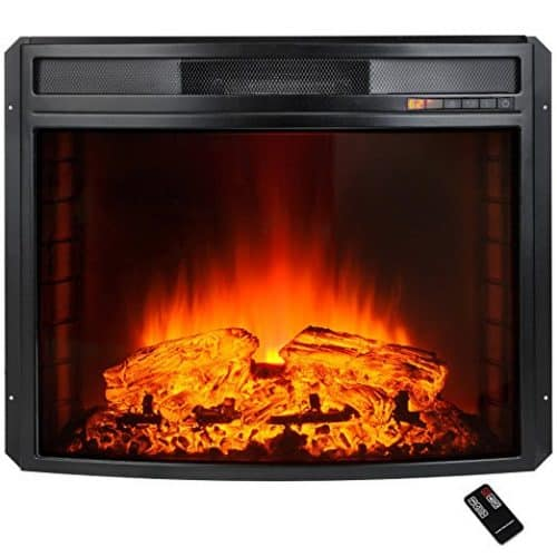 AKDY 28″ Black Electric Firebox Fireplace Heater Insert Curve Glass