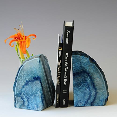 Gem Blue Agate Bookends