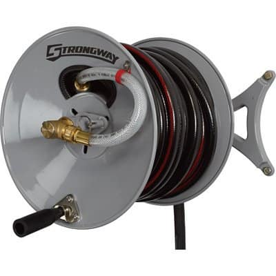 Strongway Parallel or Perpendicular Wall-Mount Garden Hose Reel