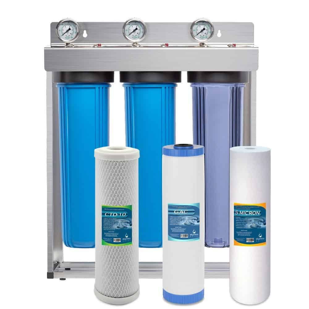 Express Water Whole House Water Filter System GAC Carbon Sediment 3 Stage Filtration 4.5″ x 20″ Inch