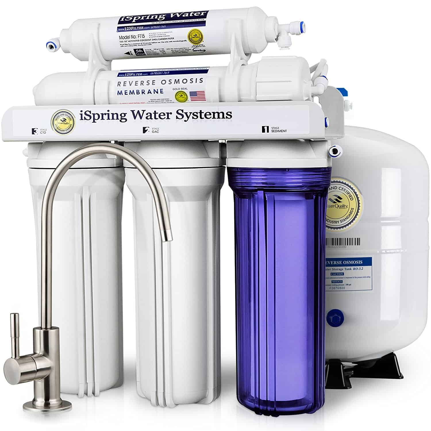 iSpring RCC7 High Capacity Under Sink 5-Stage Reverse Osmosis Drinking Water Filtration System and Ultimate Water Softener