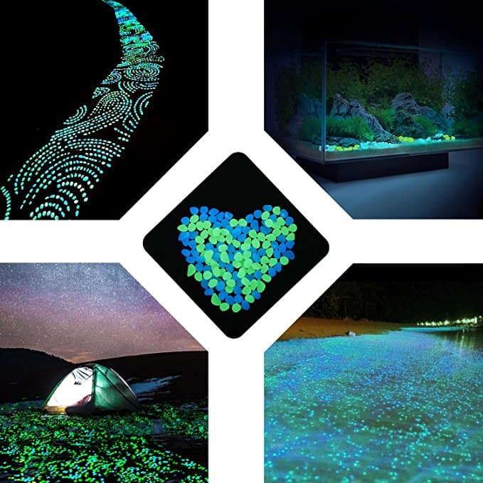200Pack Glow in the Dark Garden Pebbles