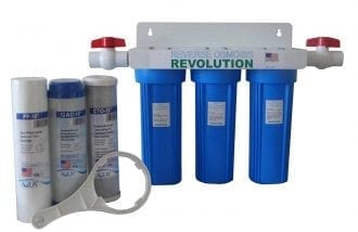 Whole House 3-Stage Water Filtration System, 3/4″ port with 2 valves and extra 3 filters set