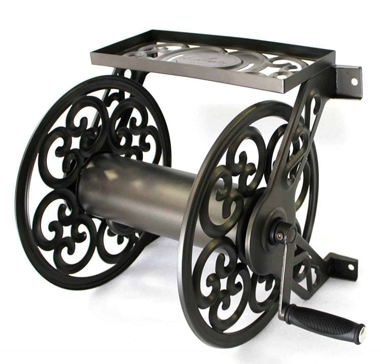 Liberty Garden Products Steel Decorative Wall Mount Garden Hose Reel