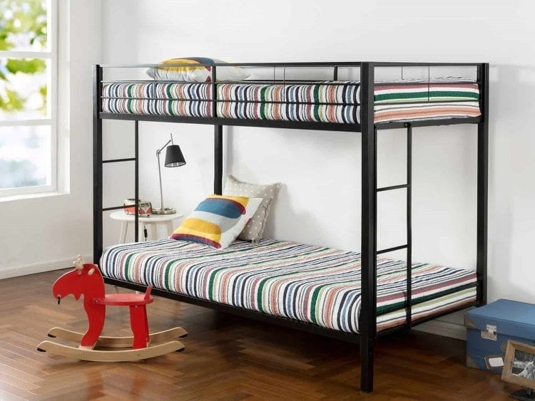 Zinus Easy Assembly Quick Lock Twin over Twin Classic Metal Bunk Bed with Dual Ladders