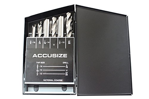 Accusize Tools – 18 Pcs/Set H.S.S. Tap & Drill Set, UNC, #0001-0040