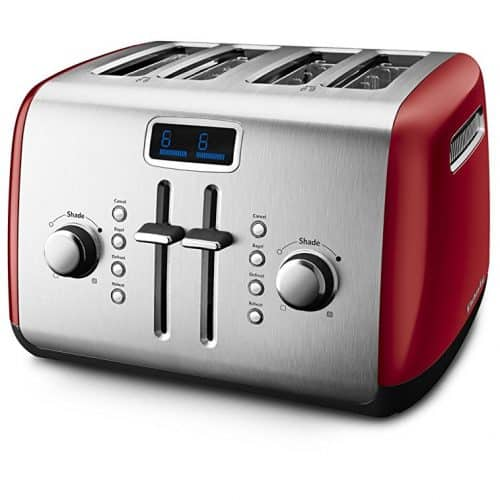 KitchenAid KMT422ER 4-Slice Toaster with Manual High-Lift Lever and Digital Display – Empire Red