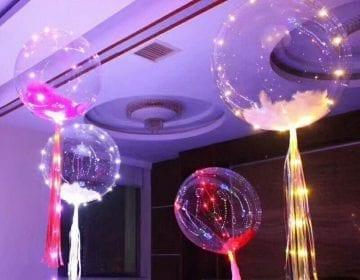 5 Fillable Transparent LED Balloons
