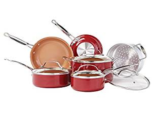 BulbHead RedCopper 10-Piece Copper-Infused Ceramic Non-Stick Cookware Set