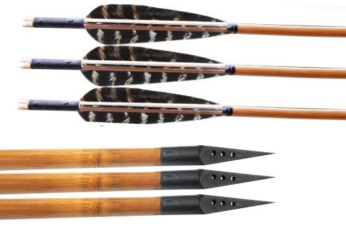 Huntingdoor Bamboo Shaft Archery Hunting Arrows Fletching; Pheasant Feathers,150-grain Broadheads