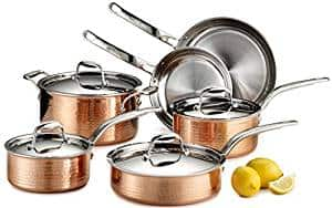 Lagostina Martellata Hammered Stainless Steel Copper Cookware Set