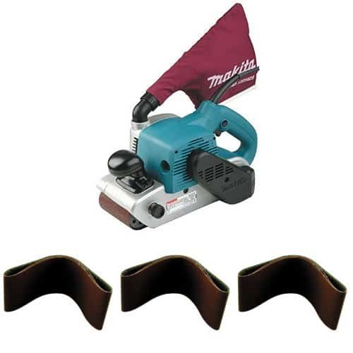 Makita 9403 4″ x 24″ Belt Sander with Cloth Dust Bag and Assortment Pack of 30 Total 4-Inch x 24-Inch Abrasive Sanding Belts (10-pk of 100, 80, and 60 Grit Belts)