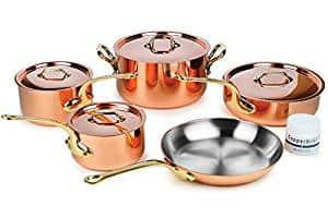 Mauviel M'heritage M205B 9-piece 2.5mm Copper Cookware Set