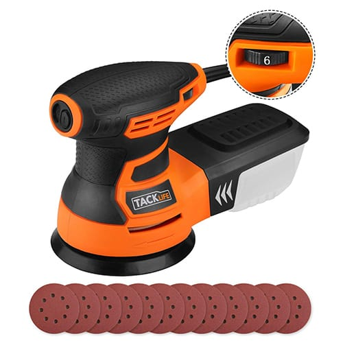 Random Orbit Sander, Tacklife 6 Variable Speed 3.0A 350W / 13000 OPM Orbital Sander with 12 pcs Sandpaper and High-Performance Dust Collection System, Ideal for the DIY and Home Decoration, PRS01A