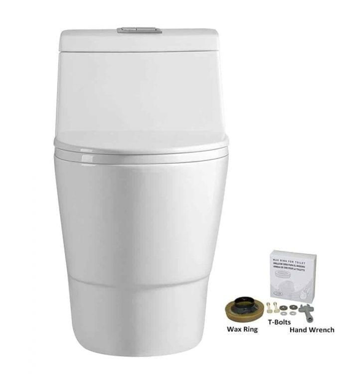 WoodBridge, Dual Flush Elongated One Piece Toilet with Soft Closing Seat, Comfort Height, Water Sense, High-Efficiency