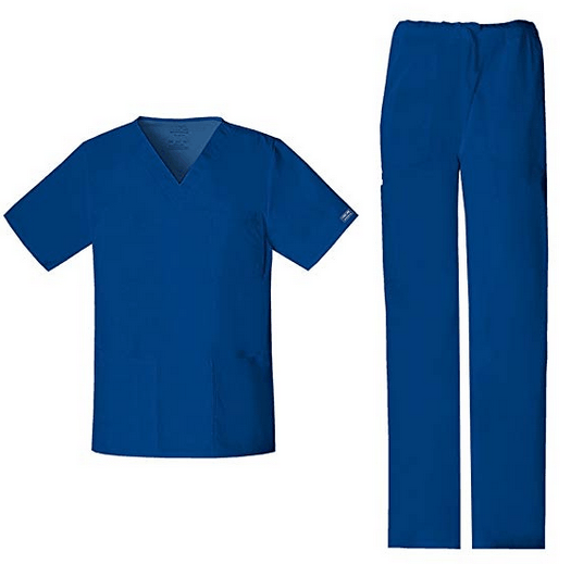 Cherokee Workwear Unisex Stretch V-Neck Top (4725) & Drawstring Pant (4043) Scrub Set
