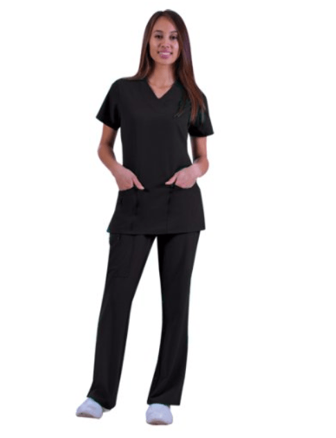 Jockey Ladies Scrub Set Zipper Pocket Top and Front Tied Zipper Pant