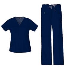 Dickies Xtreme Stretch Women's V-Neck Top (82851) & Drawstring Pant (82011) Scrub Set