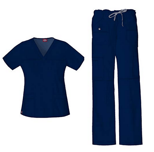 Dickies Xtreme Stretch Women's V-Neck Top (82851) & Drawstring Pant (82011) Scrub Set