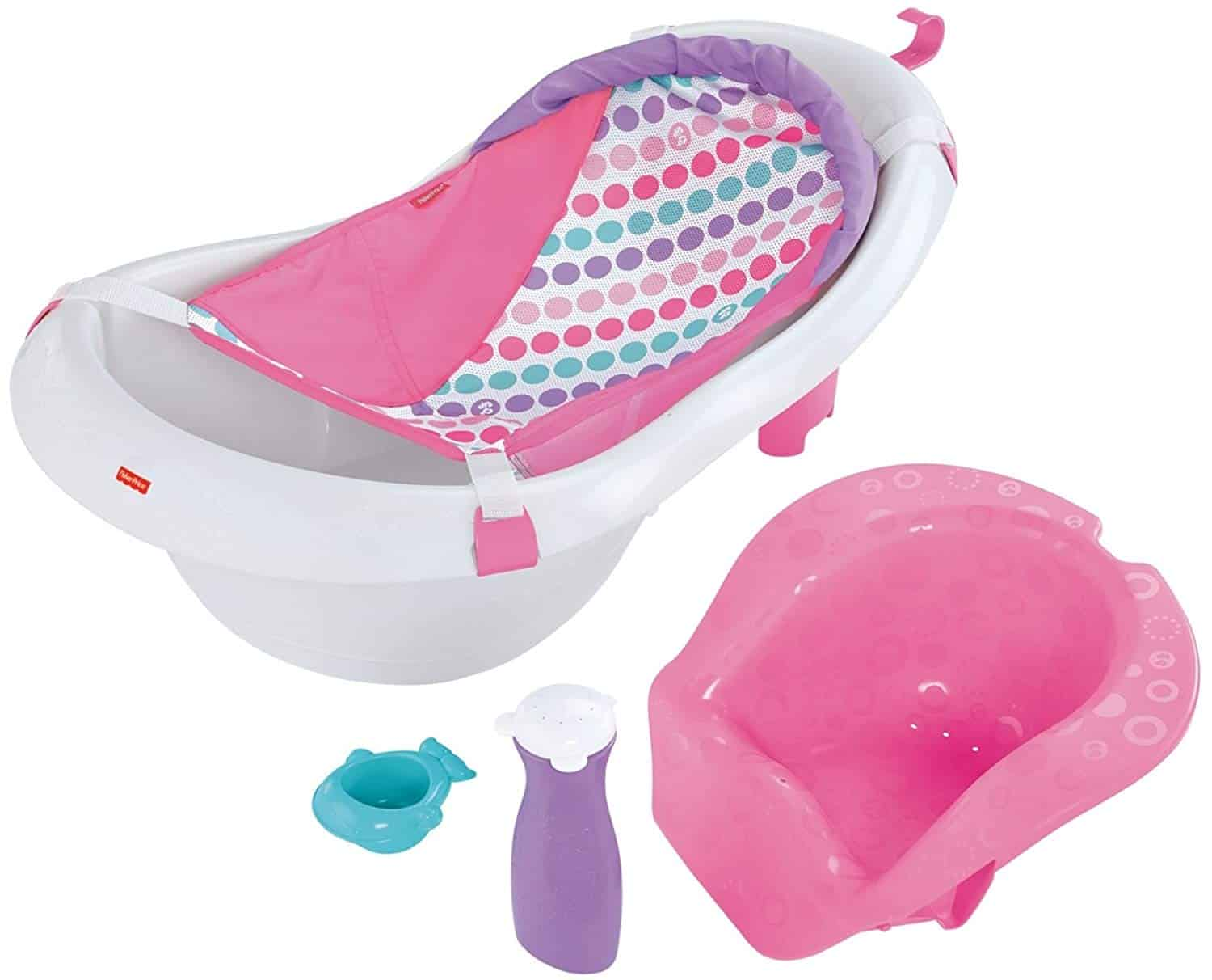 Fisher-Price 4-In-1 Sling 'n Seat Tub, White/Pink/Blue