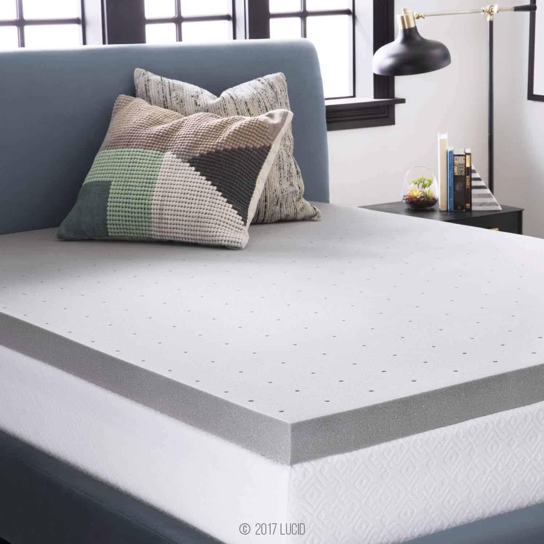 LUCID 3-Inch Bamboo Charcoal Memory Foam Mattress Topper