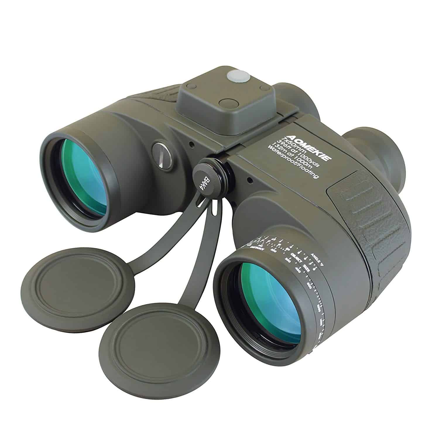 Aomekie Ultimate 7X50 HD Military Marine Binoculars with Illuminated Rangefinder Compass