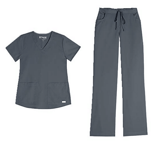 Grey's Anatomy Women's V-Neck Top (71166) & Drawstring Pant (4232) Scrub Set