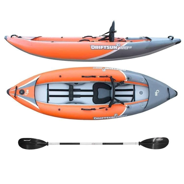 Driftsun Rover 120 Inflatable Whitewater Kayak with High-Pressure Floor, EVA Padded Seat, Action Cam Mount, Paddle, Pump