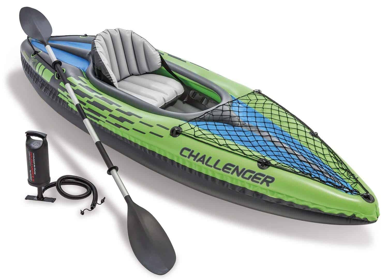 Intex Challenger K1 Kayak, 1-Person Inflatable Kayak Set Aluminum Oars High Output Air Pump