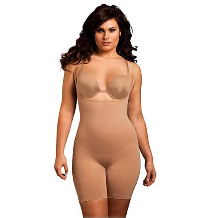 Body Wrap Plus Size Seamless Long Thigh Under Bust Bodysuit Shaper Black Nude