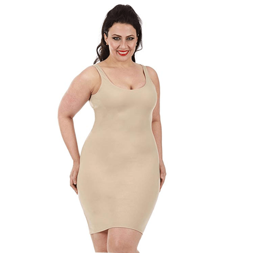 InstantFigure Plus Size Womens Shapewear Tank Slip Dress