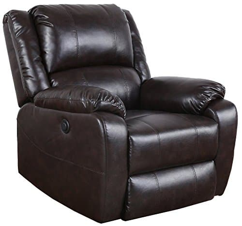 Divano Roma Furniture Plush Bonded Leather Power Electric Recliner