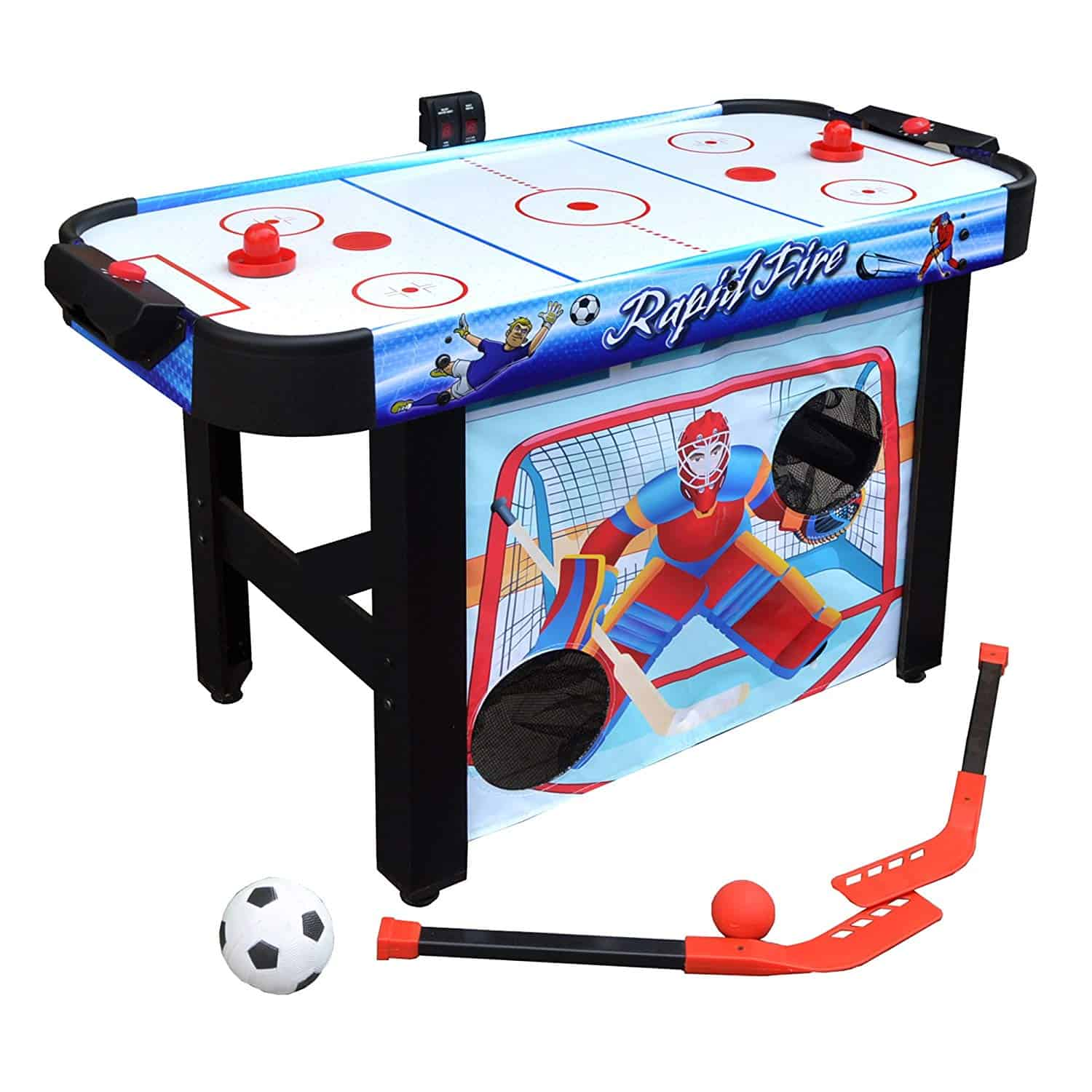 Hathaway BG1157M Rapid Fire 42-in 3-in-1 Air Hockey Multi-Game Table