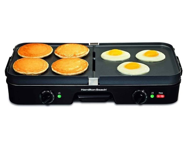 Hamilton Beach (38546) 3 in 1 Electric Smokeless Indoor Grill & Griddle Combo with Removable Plates